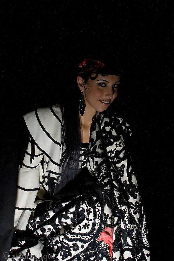 A fashion model backstage at a Rizwan Beyg fashion show in Dubai.