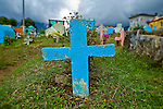 Crosses in a cemetery in Nebaj, Western Highlands, Guatemala