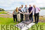 Pictured at the unveiling of 'Connection' at the Cable Station in Knightstown, Valentia.  A marine bollard to commemorate the first successful transatlantic cable laid in 1866 by artist Padraig Tarrant were l-r; Fiona Lyne(Communications Officer), Bill Burns(New York Historian), Sean Walsh(IET), Anthony O'Connell(VIDCo), Michéal Lyne(VIDCo) & Derek Cassidy(IET).