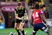 Hurricanes' Jordie Barrett in action during the Super Rugby match between the Hurricanes and Reds at Westpac Stadium in Wellington, New Zealand on Friday, 18 May 2018. Photo: Dave Lintott / lintottphoto.co.nz