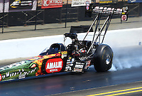 Jul. 26, 2014; Sonoma, CA, USA; NHRA top fuel driver Terry McMillen during qualifying for the Sonoma Nationals at Sonoma Raceway. Mandatory Credit: Mark J. Rebilas-