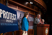 United States Senate Minority Leader Chuck Schumer (Democrat of New York), United States Senator Jeanne Shaheen (Democrat of New Hampshire), United States Senator Patty Murray (Democrat of Washington), United States Senator Mark Warner (Democrat of Virginia), United States Senator Ron Wyden (Democrat of Oregon), and United States Senator Ben Cardin (Democrat of Maryland) discuss saving pre-existing condition protections in the health care system during a press conference on Capitol Hill in Washington D.C., U.S. on July 31, 2019.<br /> <br /> Credit: Stefani Reynolds / CNP/AdMedia