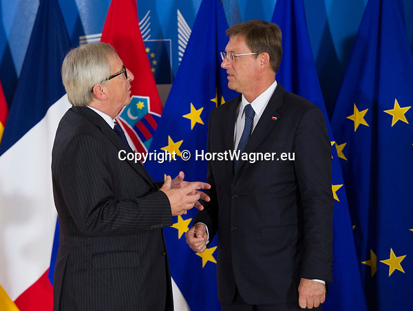 Belgium, Brussels - June 24, 2018 -- Informal working meeting on migration and asylum issues convened by Jean-Claude JUNCKER (le), President of the European Commission, here welcoming Miro CERAR (ri), Prime Minister of Slovenia -- Photo © HorstWagner.eu