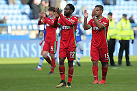 (L-R) Nathan Dyer and Wayne Routledge of Swansea City thank away supporters during The Emirates FA Cup Fifth Round match between Sheffield Wednesday and Swansea City at Hillsborough, Sheffield, England, UK. Saturday 17 February 2018
