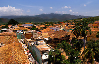 Beautiful aerial scenic of skyline taken from church steeple of the old colonial city of Trinidad in Cuba