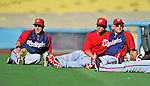23 July 2011: Members of the Washington Nationals relax before batting practice and a game against the Los Angeles Dodgers at Dodger Stadium in Los Angeles, California. Pictured (left to right) are Laynce Nix, Ian Desmond, and Ryan Zimmerman. The Dodgers rallied to defeat the Nationals 7-6 on a Rafael Furcal walk-off, RBI double in the bottom of the 9th inning. Mandatory Credit: Ed Wolfstein Photo