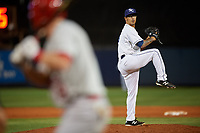 Charlotte Stone Crabs relief pitcher Ivan Pelaez (16) delivers a pitch during a game against the Palm Beach Cardinals on April 20, 2018 at Charlotte Sports Park in Port Charlotte, Florida.  Charlotte defeated Palm Beach 4-3.  (Mike Janes/Four Seam Images)