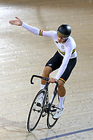 Kiaan Watts of Waikato BOP after finishing first in the U17 sprint final at the Age Group Track National Championships, Avantidrome, Home of Cycling, Cambridge, New Zealand, Friday, March 17, 2017. Mandatory Credit: © Dianne Manson/CyclingNZ  **NO ARCHIVING**