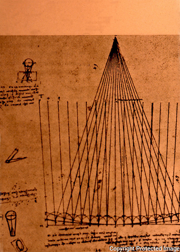 Visual Arts:  Leonardo Drawing--Paths of light rays in parabolic mirror for telescope.  Photo '84.