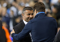 Tottenham Hotspur Manager Mauricio Pochettino welcome Qarabag FK Manager Gurban Gurbanov during the UEFA Europa League match between Tottenham Hotspur and Qarabag FK at White Hart Lane, London, England on 17 September 2015. Photo by Andy Rowland.