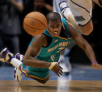 Chris Paul dives for loose ball. Utah Jazz vs. New Orleans/Oklahoma City Hornets NBA Basketball.