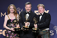LOS ANGELES - SEP 22:  Annabel Jones, Charlie Brooker, Russell McLean at the Emmy Awards 2019: PRESS ROOM at the Microsoft Theater on September 22, 2019 in Los Angeles, CA