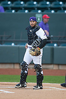 Winston-Salem Dash catcher Omar Narvaez (22) on defense against the Potomac Nationals at BB&T Ballpark on April 30, 2015 in Winston-Salem, North Carolina.  The Nationals defeated the Dash 5-4..  (Brian Westerholt/Four Seam Images)