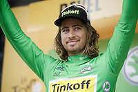 World Champion Peter Sagan (SVK/Tinkoff) on the podium in green<br /> <br /> stage 10: Escaldes-Engordany (AND) - Revel (FR)<br /> 103rd Tour de France 2016