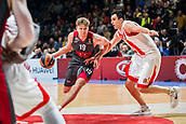 9th February 2018, Aleksandar Nikolic Hall, Belgrade, Serbia; Euroleague Basketball, Crvenz Zvezda mts Belgrade versus AX Armani Exchange Olimpia Milan; Forward Mindaugas Kuzminskas of AX Armani Exchange Olimpia Milan drives to the basket while Center Milko Bjelica of Crvena Zvezda mts Belgrade try to block him
