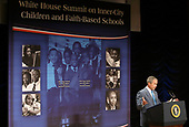 United States President George W. Bush addresses the White House Summit on Inner-City Children and Faith-Based Schools at Ronald Reagan Building and International Trade Center April 24, 2008 in Washington, DC. Bush spoke to educators, clergy, philanthropists and business leaders on helping faith-based schools from closures. According to the National Center for Education Statistics, about 1,200 urban faith-based schools have closed their doors between 2000 and 2006 and that affected more than 400,000 students.  <br /> Credit: Alex Wong / Pool via CNP