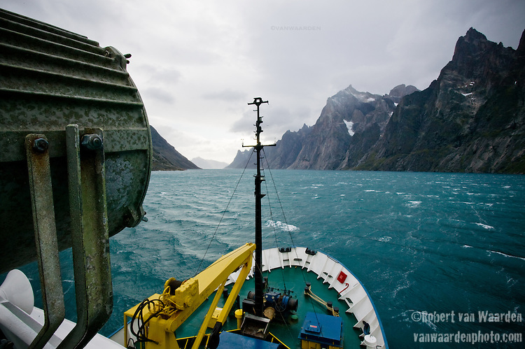 The Ship sails through Prins Christian Sound in Southern Greenland. Cape Farewell Youth Expedition 08(©Robert vanWaarden ALL RIGHTS RESERVED)