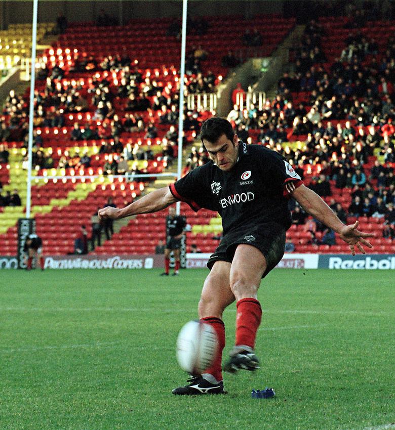 Photo. Richard Lane. .Saracens v Cardiff. 17/1/99..Saracens Alain Penaud converts George Chuter's try..