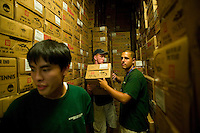 Flushing, NY - 17 August 2005 - Grounds Crew members store 1305 boxes of tennis balls in a room inside the Arthur Ash stadium at the National Tennis Center - home of the US Open - in Flushing, Queens, NY, USA, 17 August 2005.