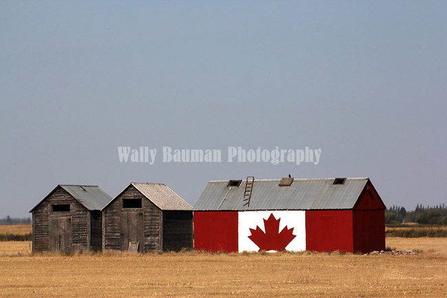 CANADIAN FLAG PAINTED ON A GRAIN BIN