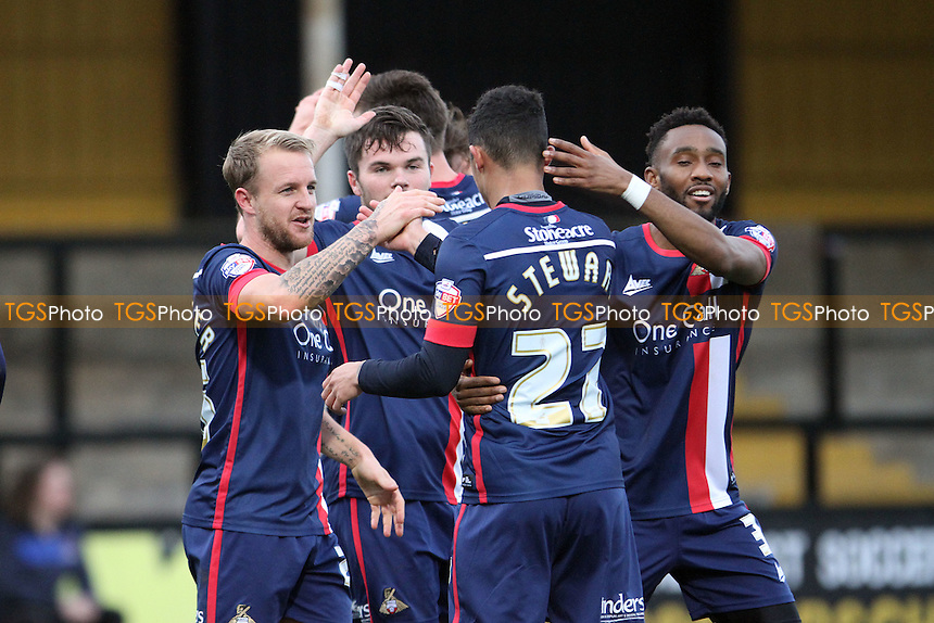 Doncaster celebrate the goal from Conor Grant of Doncaster Rovers during Cambridge United vs Doncaster Rovers, Emirates FA Cup Football at the Abbey Stadium, Cambridge, England on 06/12/2015