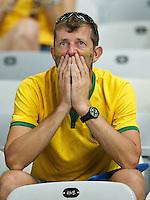 Dejected Brazil fan