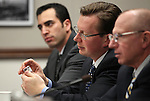 Nevada Sen. Ben Kieckhefer, R-Reno, looks at a sample of bath salts during a hearing about synthetic drugs at the Legislature in Carson City, Nev. on Tuesday, March 15, 2011..Photo by Cathleen Allison