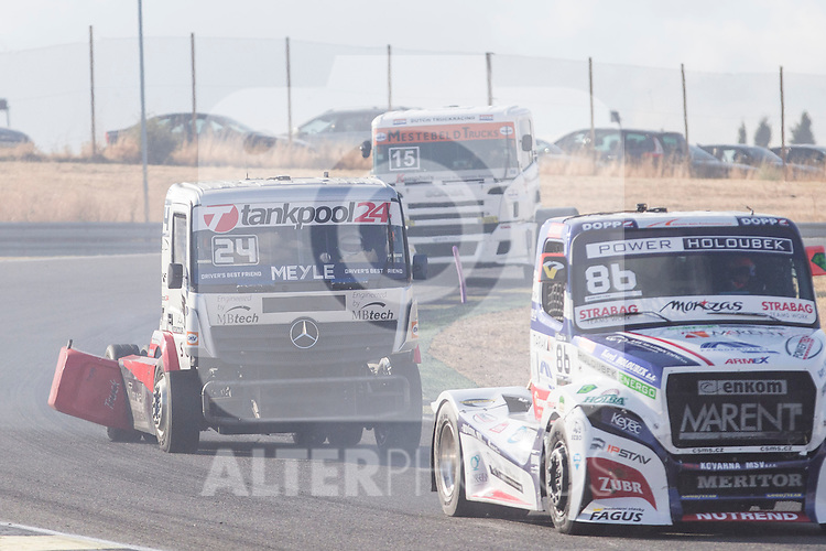 German driver Andre Kursim belonging German team Tankpool 24 Racing and Czech driver Jiri Forman belonging Czech team Buggyra International Racing System during the fist race R1 of the XXX Spain GP Camion of the FIA European Truck Racing Championship 2016 in Madrid. October 01, 2016. (ALTERPHOTOS/Rodrigo Jimenez)