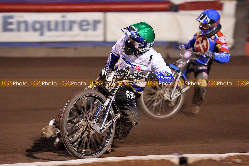Heat 11: Edward Kennett (green) ahead of Ricky Kling - Lakeside Hammers vs Ipswich Witches - Elite League Speedway at Arena Essex Raceway - 02/05/08 - MANDATORY CREDIT: Gavin Ellis/TGSPHOTO. Self-Billing applies where appropriate. NO UNPAID USE. Tel: 0845 094 6026