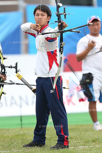 Kazuki Yamamoto (JPN), <br /> JULY 6, 2015 - Archery : <br /> The 28th Summer Universiade 2015 Gwangju Men's Team Recurve Individual Qualification <br /> at Gwangju International Archery Center in Gwangju, South Korea.<br /> (Photo by Sho Tamura/AFLO SPORT)