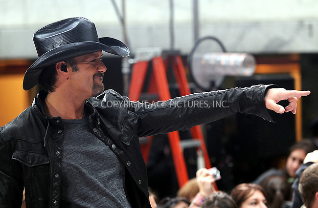 WWW.ACEPIXS.COM . . . . . ....October 23 2009, New York City....Country singer Tim McGraw performed on NBC's 'Today' show at the Rockefeller Plaza on October 23 2009 in New York City....Please byline: KRISTIN CALLAHAN - ACEPIXS.COM.. . . . . . ..Ace Pictures, Inc:  ..(212) 243-8787 or (646) 679 0430..e-mail: picturedesk@acepixs.com..web: http://www.acepixs.com