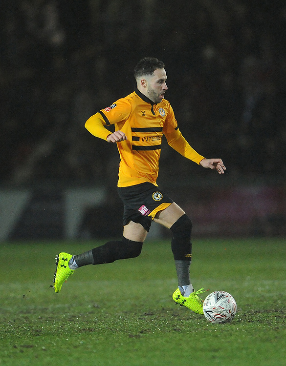 Newport County's Robbie Willmott during the game <br /> <br /> Photographer Ian Cook/CameraSport<br /> <br /> Emirates FA Cup Fourth Round Replay - Newport County v Middlesbrough - Tuesday 5th February 2019 - Rodney Parade - Newport<br />  <br /> World Copyright © 2019 CameraSport. All rights reserved. 43 Linden Ave. Countesthorpe. Leicester. England. LE8 5PG - Tel: +44 (0) 116 277 4147 - admin@camerasport.com - www.camerasport.com