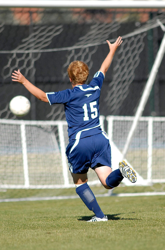 Fort Lewis College Soccer player celebrates a goal during the 2007 RMAC playoffs. Fort Lewis College went on to win the division title.
