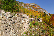 The site of the Mt. Willard Section House along the old Maine Central Railroad, next to the Willey Brook Trestle, in Crawford Notch in New Hampshire. This section house was built in 1887 to house section foreman James E. Mitchell, his family, and crew who maintained Section 139 of the railroad. From 1903-1942, the Hattie Evans family lived in the house. It was razed in 1972.