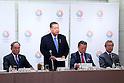 (L-R) Fujio Mitarai, Yoshiro Mori, Yoshitaka Sakurada, Tsunekazu Takeda,March 26, 2014 : a conference held by directors of Tokyo Organizing Committee of the Olympic and Paralympic Games <br /> in Tokyo, Japan. (Photo by Yohei Osada/AFLO SPORT)