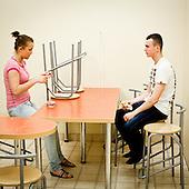 """WARSAW, POLAND, MAY 2011:.Consultants in the kitchen during break at the """"Call Center Poland"""" call center in Warsaw..(Photo by Piotr Malecki / Napo Images)..WARSZAWA, MAJ 2011:.Telemarketerzy podczas przerwy, w firmie """"Call Center Poland""""..Fot: Piotr Malecki / Napo Images.***Zdjecie moze byc wykorzystane w prasie, jesli sposob jego uzycia i podpis nie obrazaja osob znajdujacych sie na nim***"""