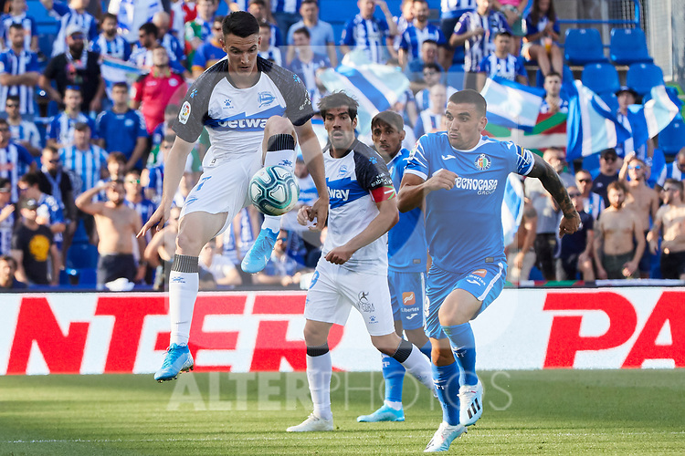 Mauro Arambarri of Getafe CF and Lucas Perez of Deportivo Alaves during La Liga match between Getafe CF and Deportivo Alaves at Colisseum Alfonso Perez in Getafe, Spain. August 31, 2019. (ALTERPHOTOS/A. Perez Meca)
