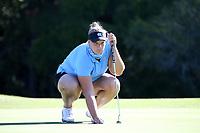 CHAPEL HILL, NC - OCTOBER 11: Krista Junkkari of the University of North Carolina lines up a putt at UNC Finley Golf Course on October 11, 2019 in Chapel Hill, North Carolina.