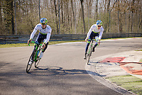 Michael Matthews (AUS/Orica-GreenEDGE) &amp; Chris Juul-Jensen (DEN/Orica-GreenEDGE) having fun as 'F1-drivers'<br /> <br /> training/coffee ride with Team Orica-GreenEDGE at the Monza F1 Race Circuit 1 day before Milan-San Remo