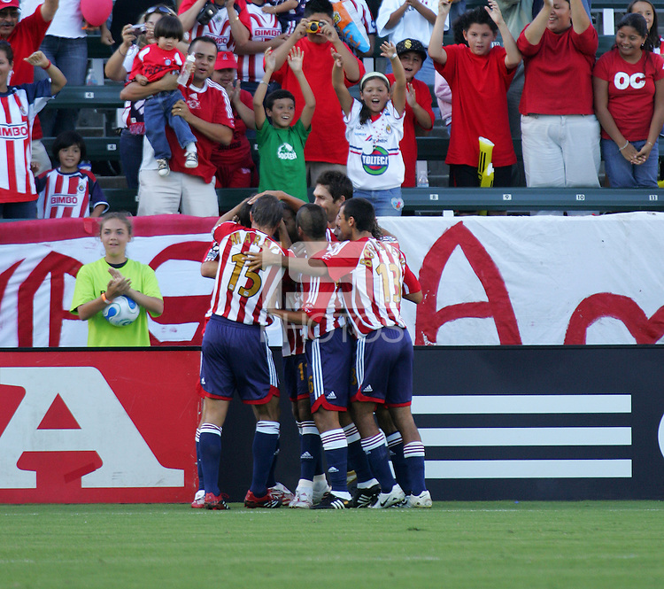 CD Chivas USA celebrate their first goal of the game early in the first half. CD Chivas USA defeated the New York Red Bulls 3-0 in an MLS regular season match at the Home Depot Center, Carson, CA, on September 9, 2007.