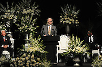 Rabbi Joe Rapport speaks at the memorial service for boxing legend Muhammad Ali at the KFC Yum! Center in Louisville, Kentucky on June 10, 2016.  Ali was involved in the planning of the ceremony which included speeches from leaders of numerous faith as well as comedian Billy Crystal and former American President Bill Clinton.