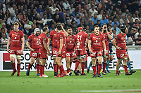 Team of Lyon looks dejected during the Top 14 semi final match between Montpellier Herault Rugby and Lyon on May 25, 2018 in Lyon, France. (Photo by Alexandre Dimou/Icon Sport)