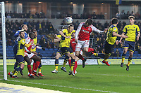 Bobby Grant of Fleetwood Town heads goalwards during the Sky Bet League 1 match between Oxford United and Fleetwood Town at the Kassam Stadium, Oxford, England on 10 April 2018. Photo by David Horn.