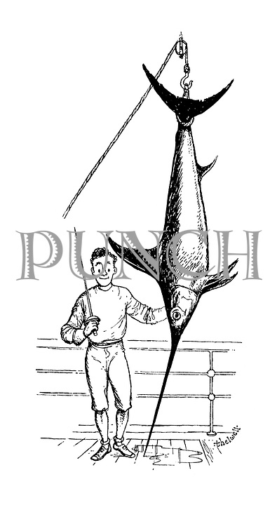 (fencer on ship's deck with swordfish)