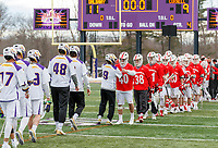 University at Albany Men's Lacrosse defeats Cornell 11-9 on Mar 4 at Casey Stadium.  Goalkeepers congratulations.