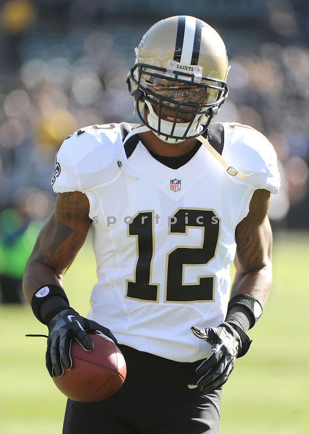 New Orleans Saints Marques Colston (12) in action during a game against the Raiders on November 18, 2012 at O.co Coliseum on Oakland, CA. The Saints beat the Raiders 38-17.