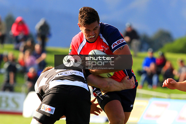 Quentin MacDonald in the Tasman Makos vs Hawkes Bay Magpies ITM Cup rugby match held at Lansdowne Park, Blenheim 17th August 2014. Photo Gavin Hadfield / Shuttersport