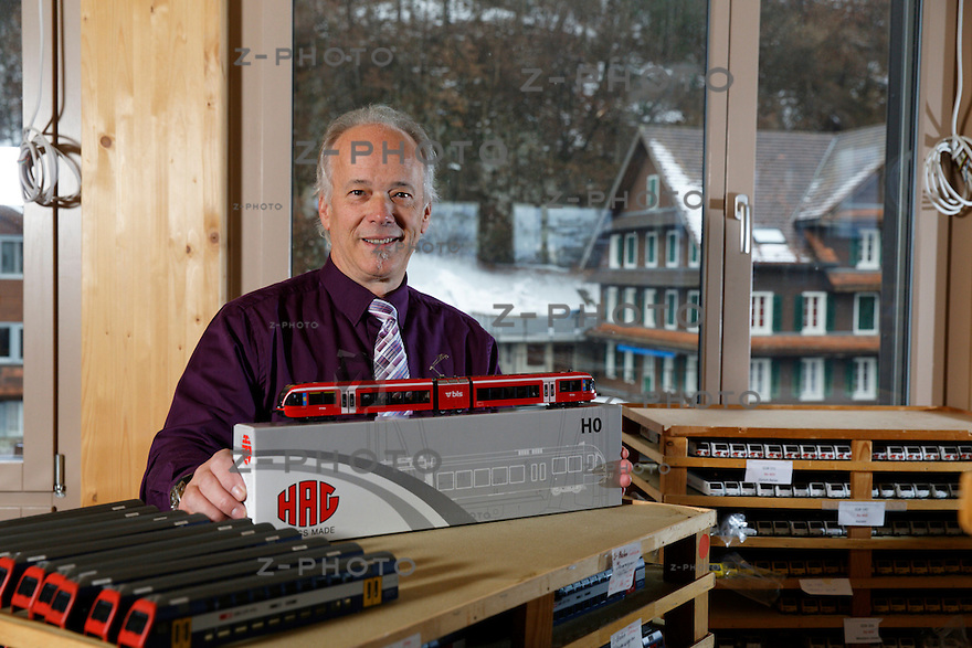 Portrait von Heinz Urech Geschaeftsfuehrer von HAG-Modellbahnen GmbH im neuen Hauptsitz in Stans an der Oberstmuehle 1 am 4. Dezember 2012 ..Copyright © Zvonimir Pisonic..
