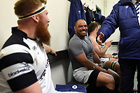 John Afoa of Bristol Bears looks on in the changing rooms after the match. Gallagher Premiership match, between Leicester Tigers and Bristol Bears on April 27, 2019 at Welford Road in Leicester, England. Photo by: Patrick Khachfe / JMP