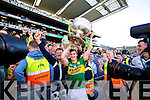 James O'Donoghue. Kerry players celebrate their victory over Donegal in the All Ireland Senior Football Final in Croke Park Dublin on Sunday 21st September 2014.